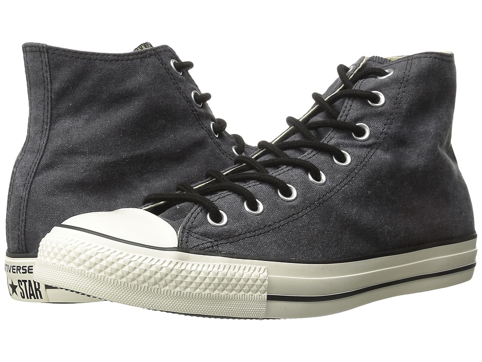 Converse - Chuck Taylor All Star Washed Canvas Hi (Black 2) Lace up casual Shoes