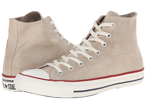 Converse - Chuck Taylor All Star Leather Herringbone Hi (Portrait Gray) Lace up casual Shoes