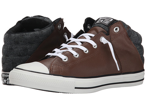 Converse - Chuck Taylor All Star Axel Leather Herringbone Mid (Chocolate/Black) Lace up casual Shoes