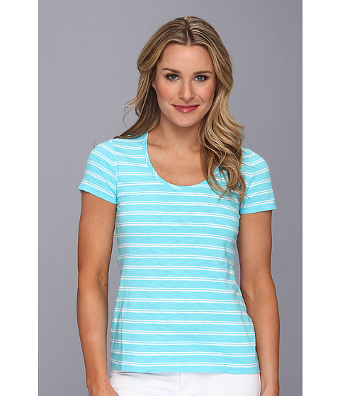 Tommy Bahama - Breton Stripe Scoop Neck Tee (Blue Curacao) Women's T Shirt
