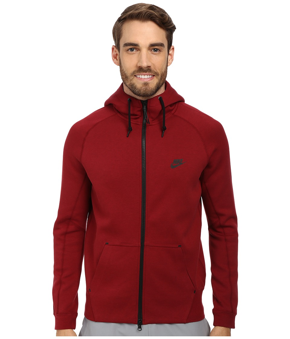 Nike - Tech Fleece AW77 1.0 Full-Zip Hoodie (Medium Team Red Heather/Team Red/Black/Black) Men