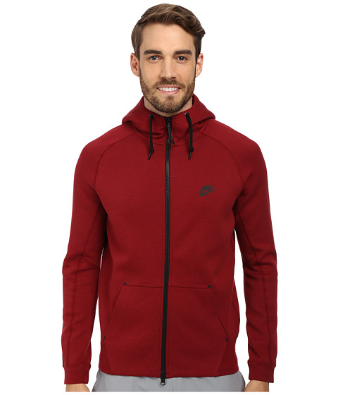 Nike - Tech Fleece AW77 1.0 Full-Zip Hoodie (Medium Team Red Heather/Team Red/Black/Black) Men's Sweatshirt