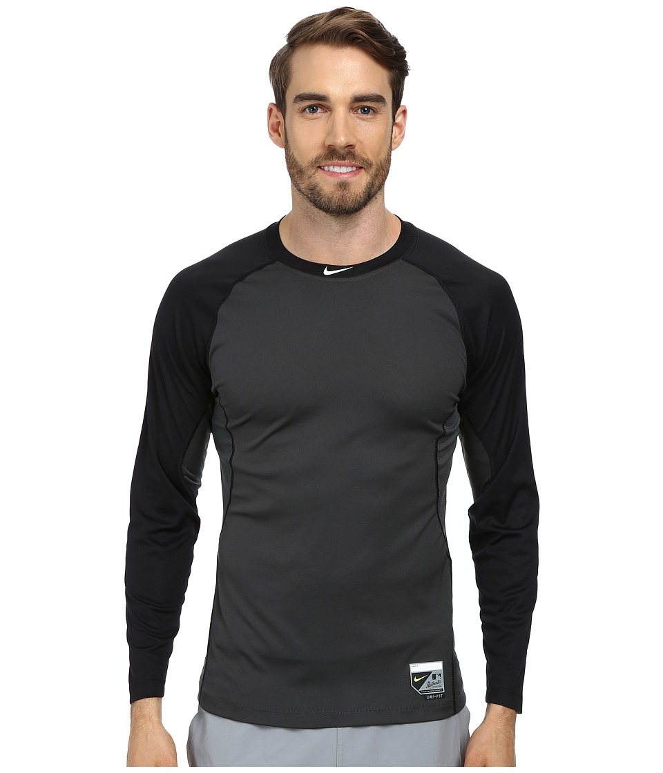 Nike - Baseball Pro Combat Core Raglan L/S 1.5 Top (Black/Anthracite/White) Men's Long Sleeve Pullover