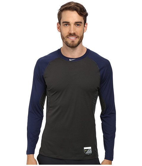 Nike - Baseball Pro Combat Core Raglan L/S 1.5 Top (Midnight Navy/Anthracite/White) Men
