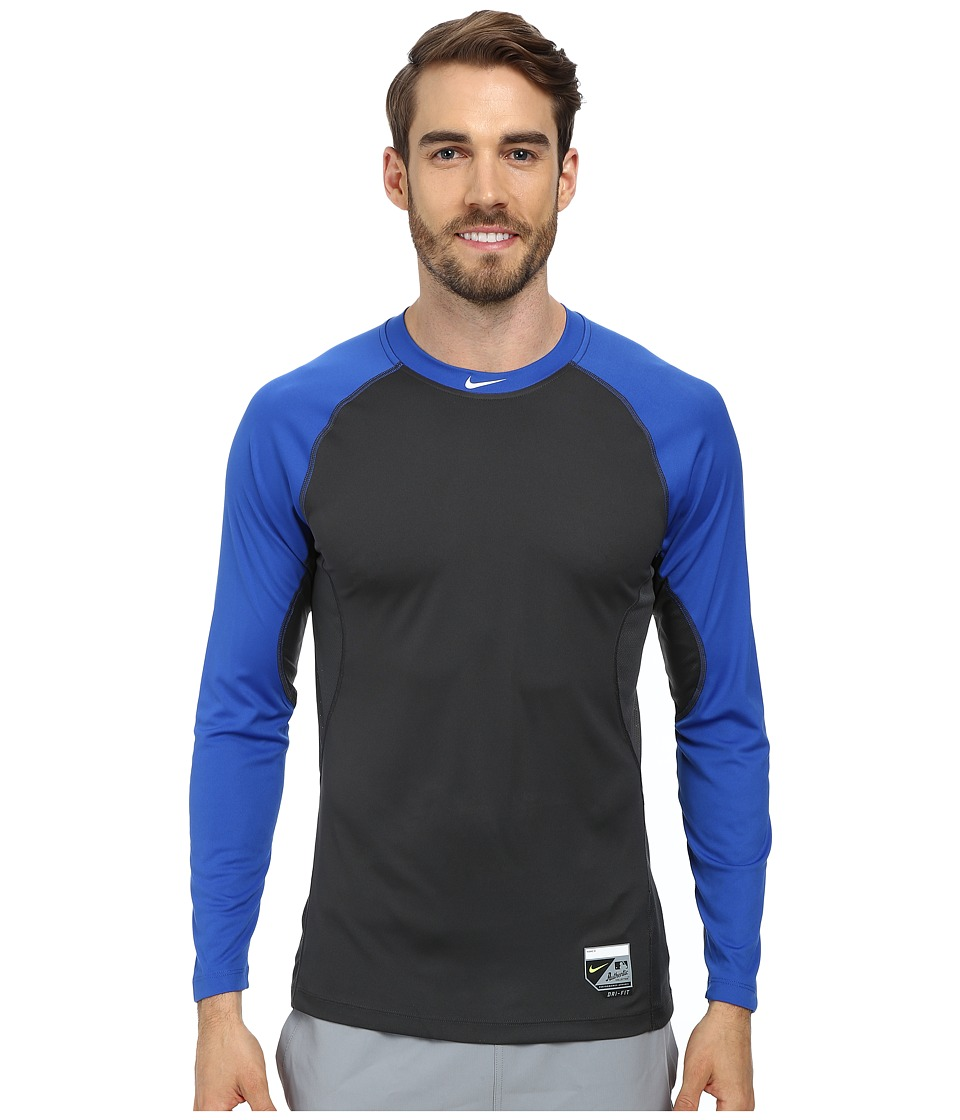 Nike - Baseball Pro Combat Core Raglan L/S 1.5 Top (Game Royal/Anthracite/White) Men
