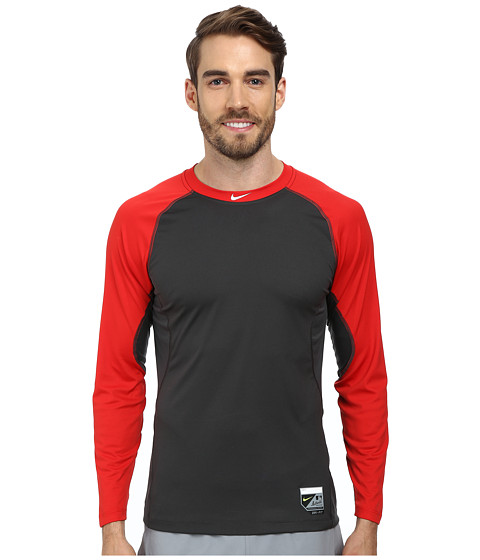 Nike - Baseball Pro Combat Core Raglan L/S 1.5 Top (University Red/Anthracite/White) Men