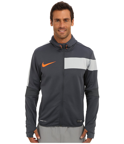 Nike - GPX Full-Zip Poly Hoodie (Dark Magnet Grey/Light Magnet Grey/Hyper Crimson) Men's Fleece