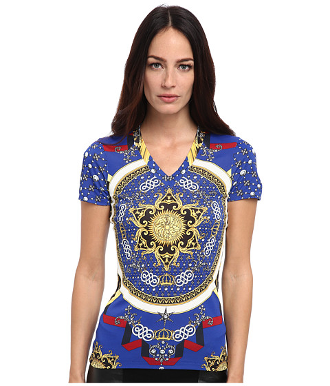 Versace Collection - Printed Jersey T-Shirt (Royal Blue) Women