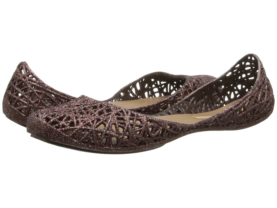 Melissa Shoes - Melissa Campana Zig Zag (Brown Glitter) Women's Flat Shoes