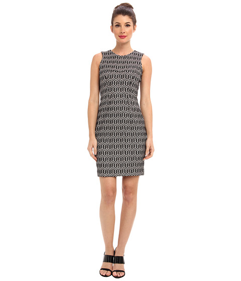 Calvin Klein - Printed Ponte Sheath (Black Cream) Women's Dress