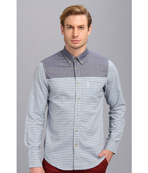 Ben Sherman - Long Sleeve Engineered Horizontal Stripe Woven (Navy) Men