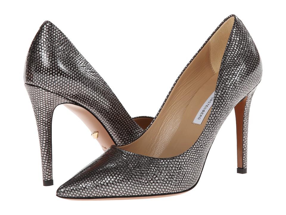 Diane von Furstenberg - Bethany (Gunmetal Metallic Iguana Print) High Heels