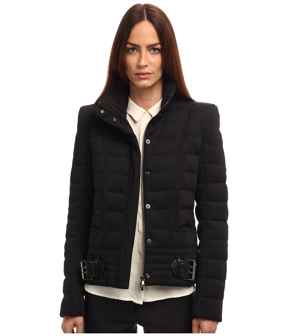 Pierre Balmain - Short Quilted Coat With Belt (Black) Women's Coat