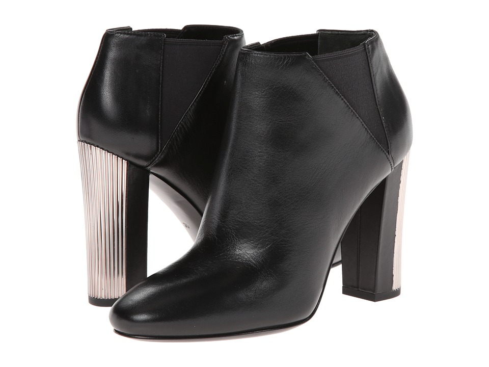 Pierre Balmain Leather Ankle Bootie With Metal Heel (Black) Women