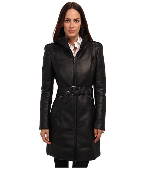 Pierre Balmain - Long Leather Down Jacket (Black) Women's Coat