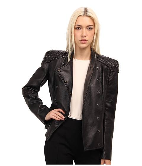 Pierre Balmain - Leather Jacket With Shoulder Detail (Black) Women's Jacket