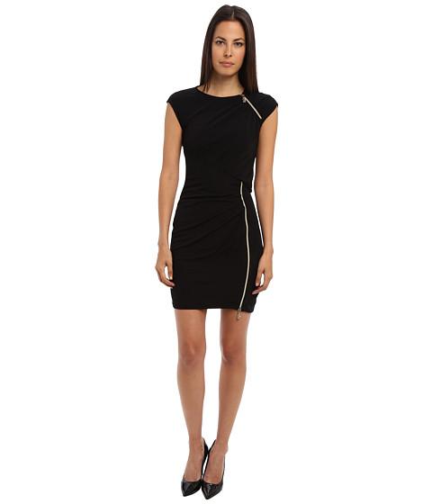 Versace Jeans - Cap Sleeve Dress with Zipper Detail (Black) Women's Dress