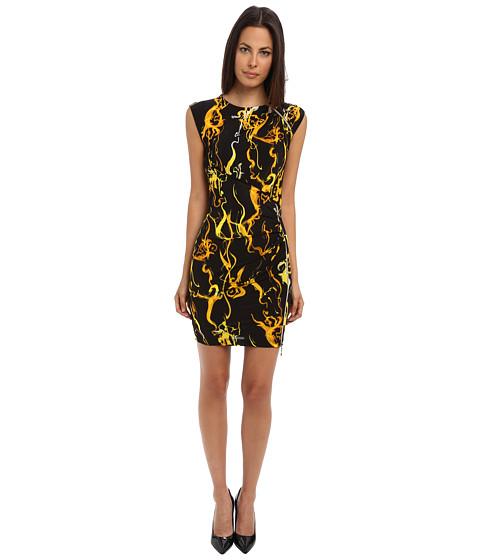Versace Jeans - Cap Sleeve Printed Dress with Zipper Detail (Black) Women