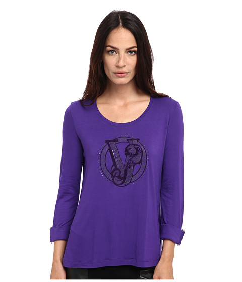 Versace Jeans - Jersey Logo 3/4 Length Sleeve Top (Purple) Women's Long Sleeve Pullover
