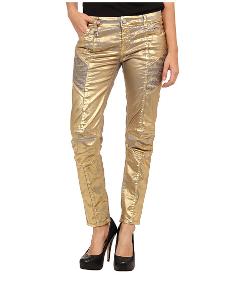 Pierre Balmain - Shiny Gold Moto Skinny Jean (Golden) Women