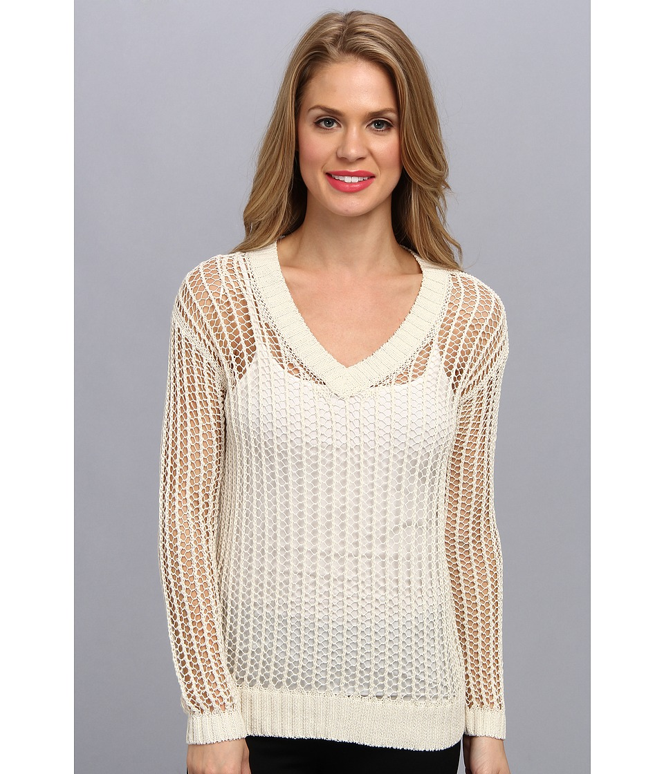 TWO by Vince Camuto - L/S V-Neck Sweater (Bone) Women