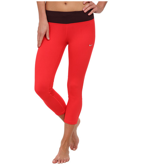Nike - Dri-Fit Epic Run Crop (Action Red/Deep Burgundy/Matte Silver) Women