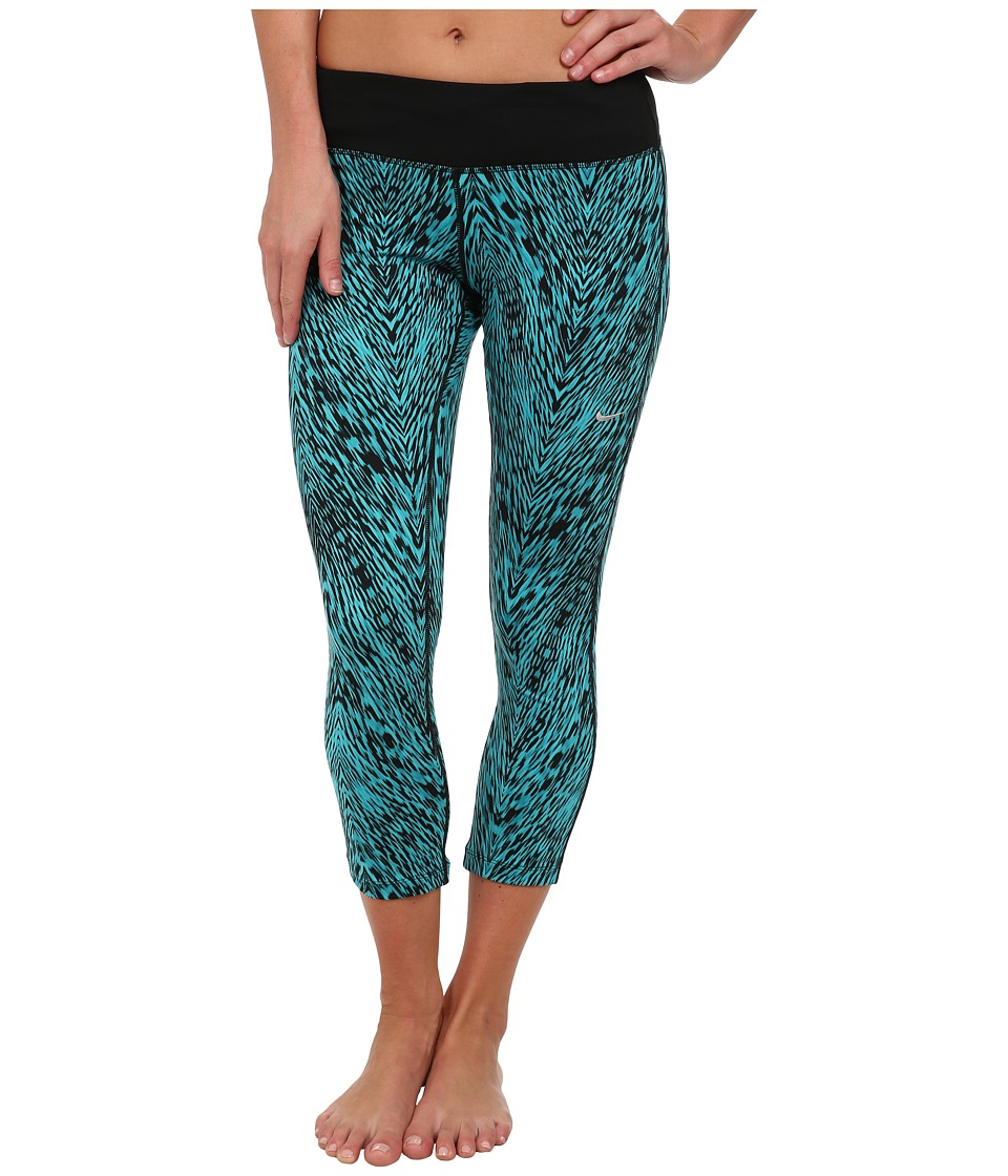 Nike - Dri-Fit Printed Epic Run Crop (Dusty Cactus/Black/Matte Silver) Women's Capri