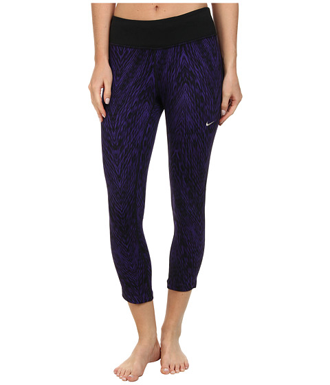 Nike - Dri-Fit Printed Epic Run Crop (Court Purple/Black/Matte Silver) Women's Capri