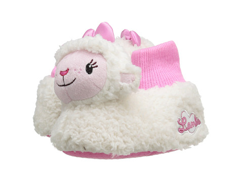 Favorite Characters - Disney Lambie Sock Top Slipper 1DMF201 (Toddler) (White) Girls Shoes