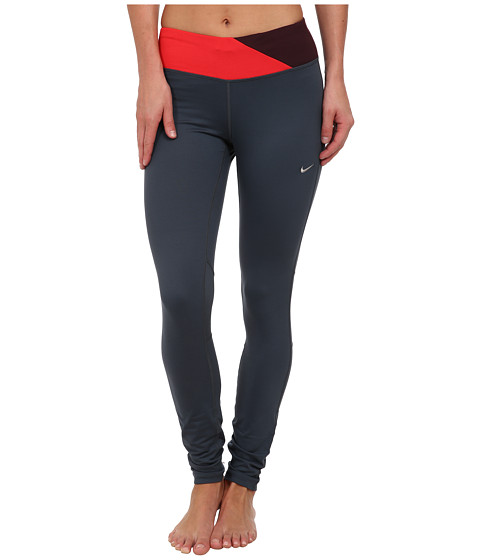 Nike - Dri-Fit Epic Run Tight (Dark Magnet Grey/Action Red/Deep Burgundy/Matte Silver) Women