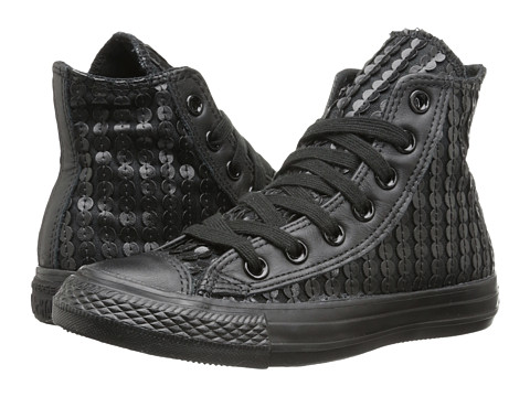 Converse - Chuck Taylor All Star Leather Sequins Hi (Black) Women's Lace up casual Shoes