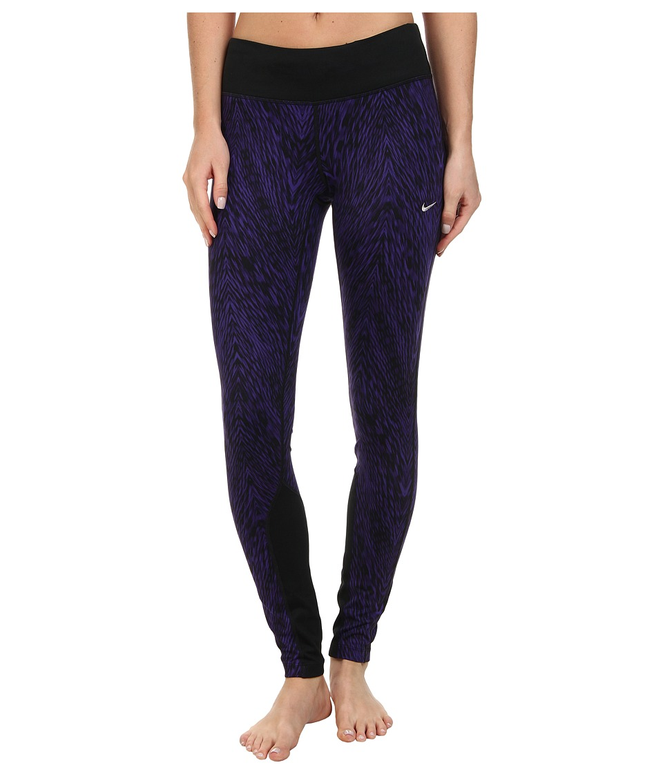 Nike - Dri-Fit Printed Epic Run Tight (Court Purple/Black/Matte Silver) Women's Clothing