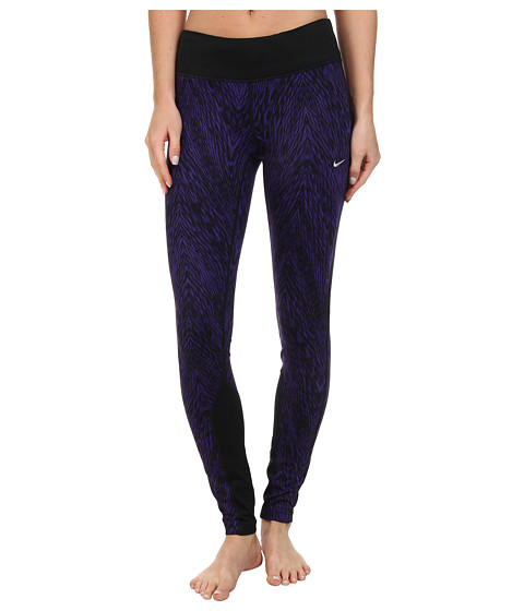Nike - Dri-Fit Printed Epic Run Tight (Court Purple/Black/Matte Silver) Women
