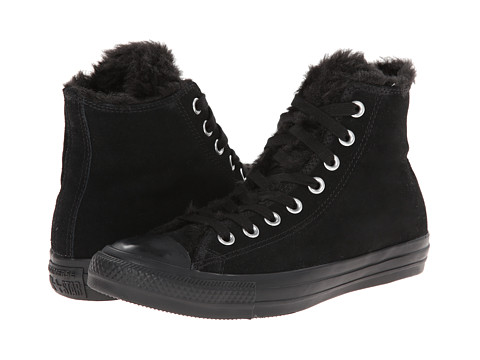 Converse - Chuck Taylor All Star Suede Fur Hi (Black) Women's Lace up casual Shoes