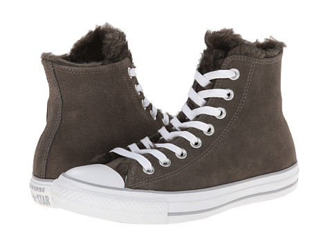 Converse - Chuck Taylor All Star Suede Fur Hi (Charcoal) Women's Lace up casual Shoes