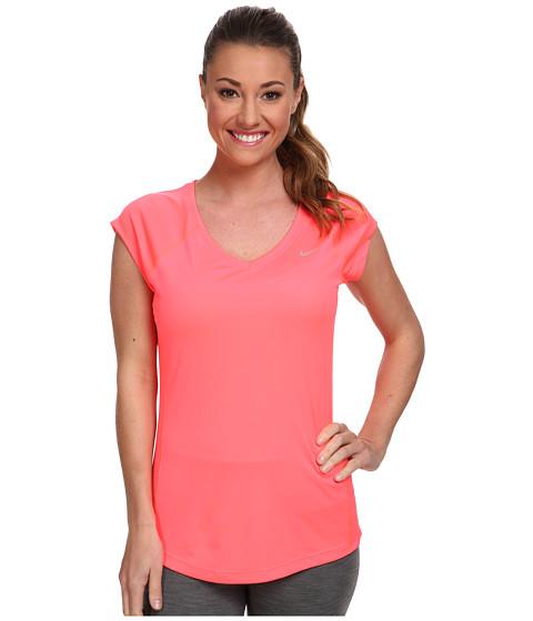Nike - Miler S/S V-Neck Top (Hyper Punch/Hyper Punch/Reflective Silver) Women's Workout