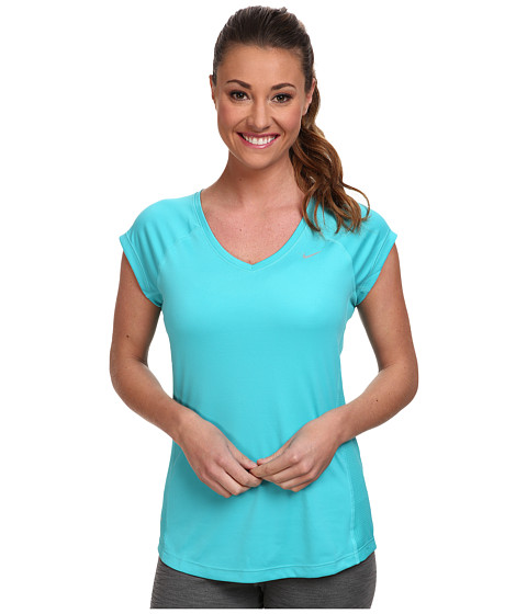 Nike - Miler S/S V-Neck Top (Dusty Cactus/Dusty Cactus/Reflective Silver) Women's Workout