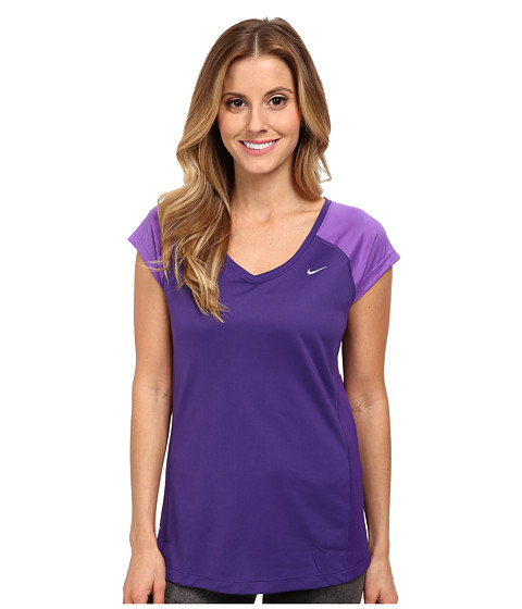 Nike - Miler S/S V-Neck Top (Court Purple/Hyper Grape/Reflective Silver) Women's Workout
