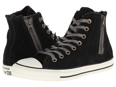 Converse - Chuck Taylor All Star Side Zip Suede Hi (Black) Women's Lace up casual Shoes