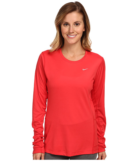 Nike - Miler L/S Top (Action Red/Reflective Silver) Women's Workout
