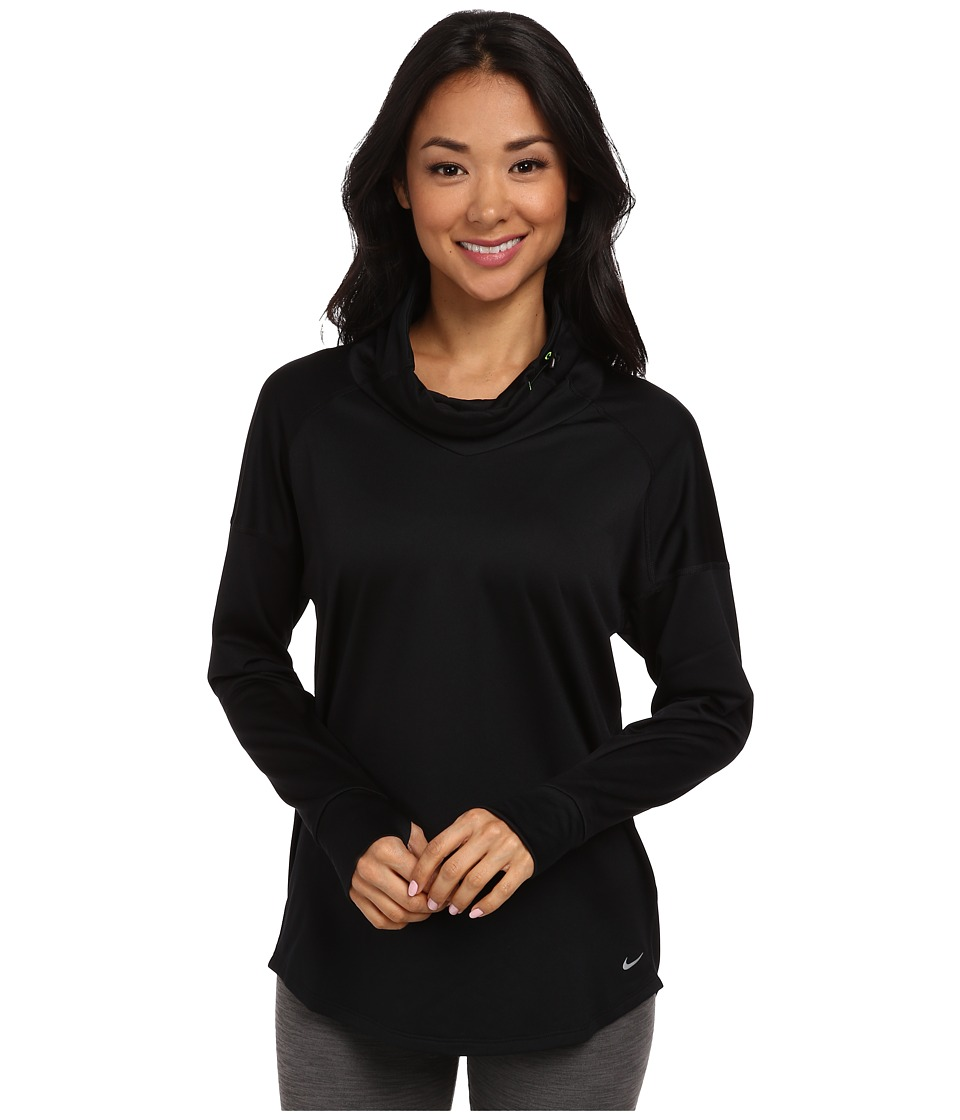 Nike - Relay Midweight L/S Top (Black/Reflective Silver) Women's Long Sleeve Pullover