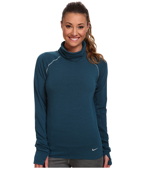 Nike - Dri-Fit Feather Fleece Pullover (Space Blue/Heather/Reflective Silver) Women's Sweatshirt