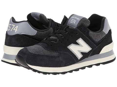 New Balance Classics - WL574 - Pennant Collection (Black/White) Women's Lace up casual Shoes
