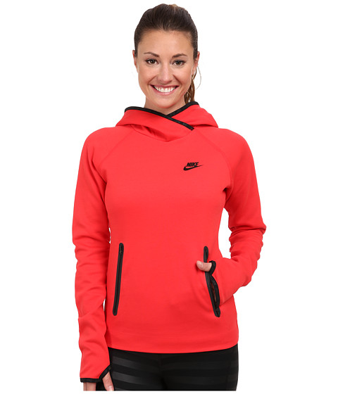 Nike - Tech Fleece Funnel (Action Red/Action Red/Black) Women