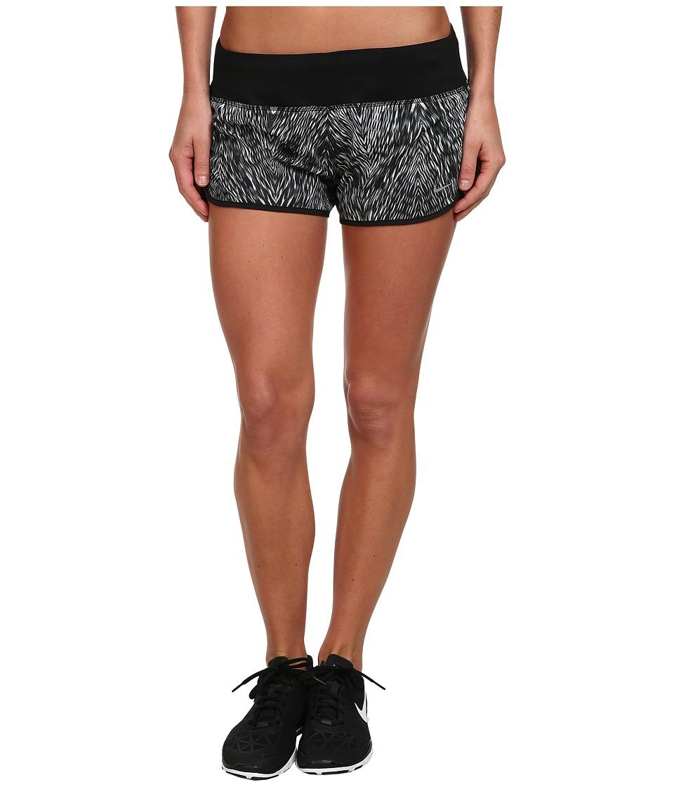 Nike - Printed 2 Rival Short (Black/Black/Reflective Silver) Women