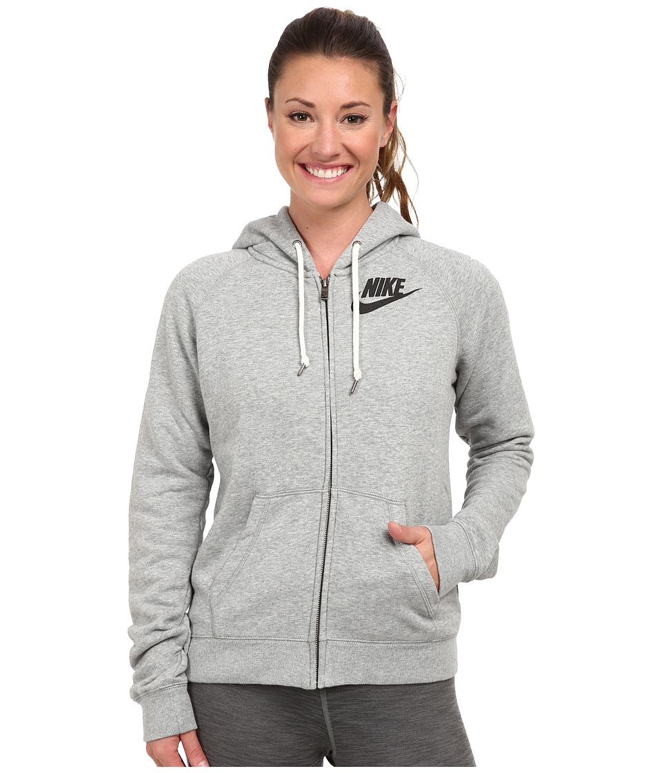 Nike - Rally Full-Zip Hoodie (Dark Grey Heather/Black) Women