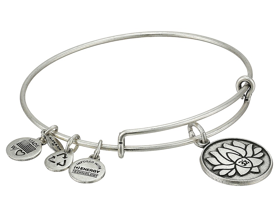 Alex and Ani - Lotus Peace Petals Charm Bangle (Rafaelian Silver Finish) Bracelet
