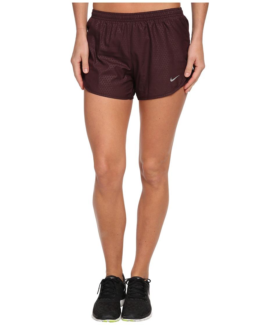 Nike - Mod Tempo Emboss Run Short (Deep Burgundy/Deep Burgundy/Matte Silver/Reflective Silver) Women's Shorts