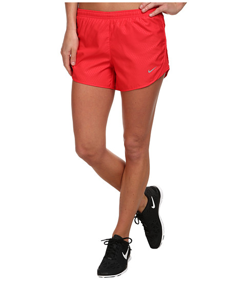 Nike - Mod Tempo Emboss Run Short (Action Red/Action Red/Matte Silver/Reflective Silver) Women