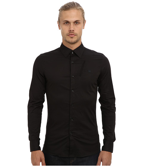 G-Star - Portaged L/S Shirt in Comfort Office Popli Black (Black) Men's Long Sleeve Button Up